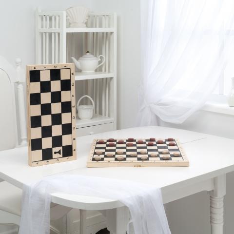 Шашки малые, деревянные с доской (400*200*40)