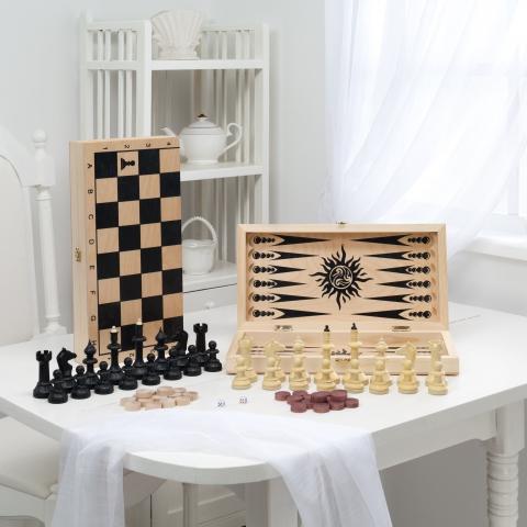 Игра 3 в 1 малая с гроссмейстерскими пластмассовыми шахматами (400*200*60)