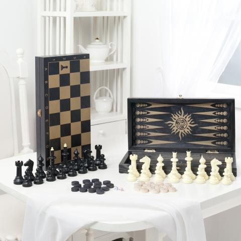 """Игра 3 в 1 малая """"Классика"""", рис золото, с гроссм. пластм. шахматами"""