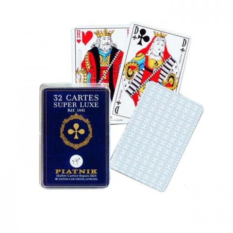 Игральные карты Супер люкс, 32 листа (пласт. кробка)
