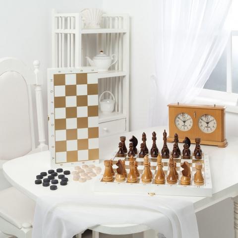 Игра 2в1 малая белая, рисунок золото (400*200*60)