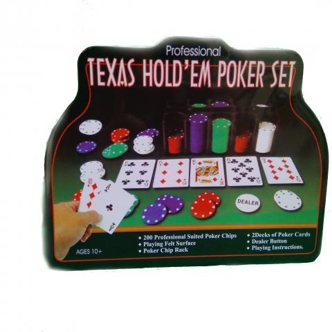 Набор Покер в жестяной коробке на 200 фишек с номиналом
