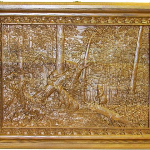 """Лото подарочное """"Утро в сосновом лесу"""" в резной шкатулке  из мореного ясеня"""