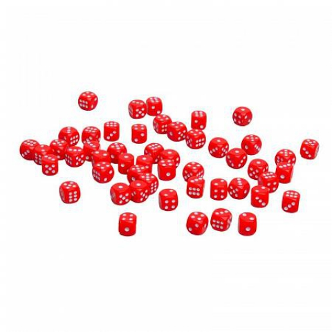 Кости игральные пластиковые, 10мм, 1 шт, цвет красный