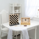 Игра 3 в 1 дорожная (нарды, шахматы пластмассовые, шашки) (290*145*60)