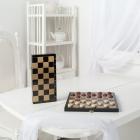 Шашки дорожные , деревянные с черной доской, рисунок золото (295*145*40)