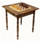 Шахматный стол темный с фигурами и ящиком (резные ножки)