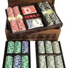 """Набор покерный: 500 фишек, две колоды карт и кости в ларце из мореного дуба """"Утро в сосновом лесу"""""""