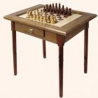 Шахматный стол темный с фигурами и ящиком (простые ножки)